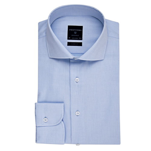 Profuomo Overhemd - Blauw - Normal fit - Cut away (1)