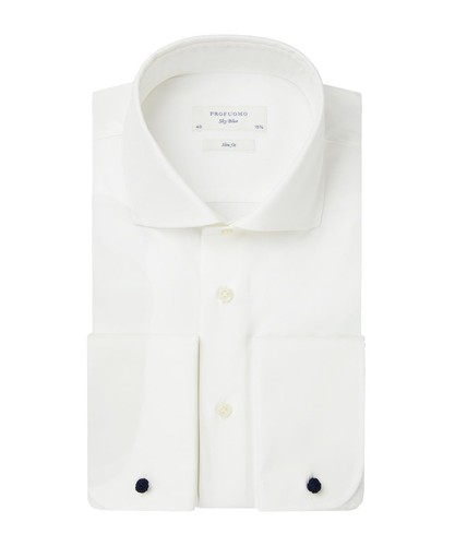 Profuomo Wedding Overhemd - Off White - Slim Fit - Twill - Double Cuff (1)