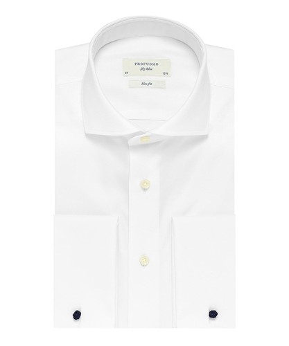 Profuomo Overhemd - Wit - Slim Fit - Royal Twill - Double Cuff (1)
